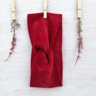 Opaska welurowa - czerwona