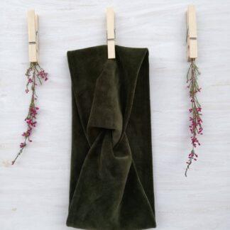 Opaska welurowa - zieleń butelkowa