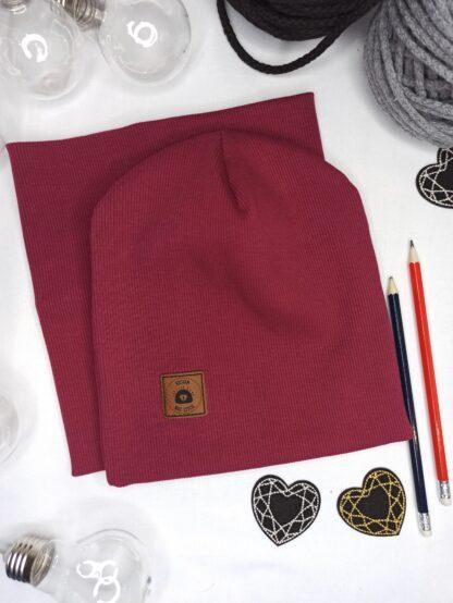 Zestaw czapka + komin - bordo