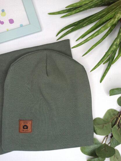 Zestaw czapka + komin - khaki