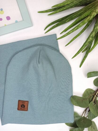Zestaw czapka + komin - przydymiony niebieski