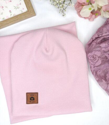 Zestaw czapka + komin - pudrowy róż