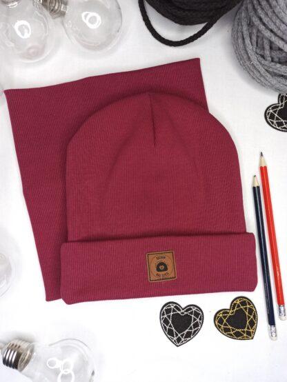 Zestaw czapka wywijana + komin - bordowy