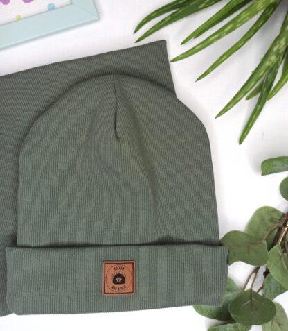 Zestaw czapka wywijana + komin - khaki