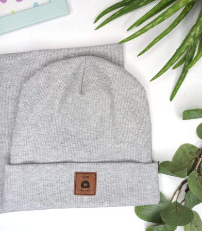 Zestaw czapka wywijana + komin - melanż