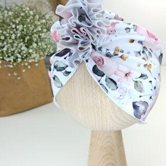 Turban - pastelowe róże 1