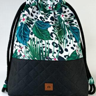 Worko-plecak czarny + liście