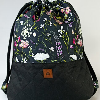 Worko-plecak czarny + polne kwiaty