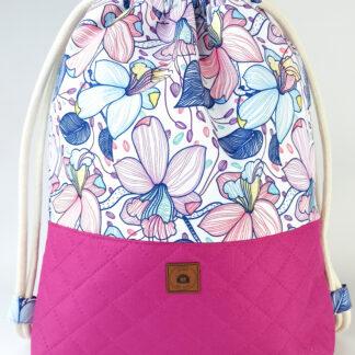 Worko-plecak fuksja + pastelowe kwiaty-12