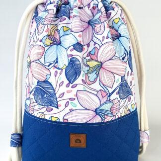 Worko-plecak niebieski + pastelowe kwiaty