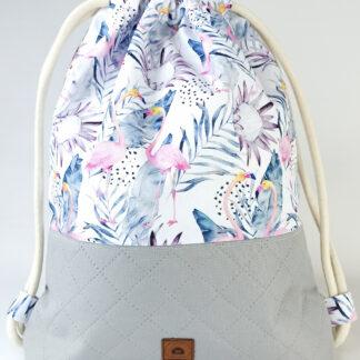 Worko-plecak szary + flamingi