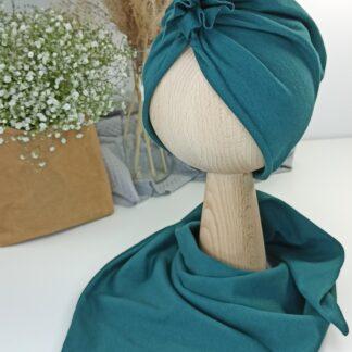 Zestaw turban + chusta - szmaragd 1